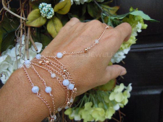 Bohemian Nights Hand Chain, Chalcedony and Moonstone Bracelet