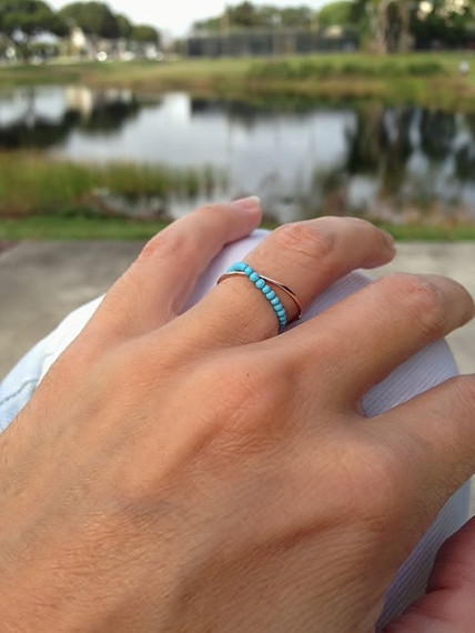 Turquoise Cult Ring, Chain Ring, Gold Ring, Turquoise Ring